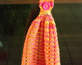 Kitchen Knit Towel, Hanging Kitchen Towel, Hand Knit Dish Towel, Tea Towel, Hanging Oven Towel, Multicolor Pink, Orange, Yellow Towel
