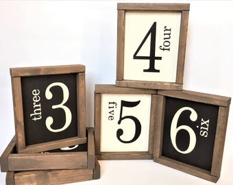Family Number Signs | Farmhouse Style Decor | Home Decor | Collage Wall Signs | Rustic Home Decor