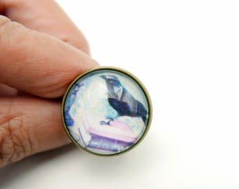 Raven Ring key ring gothic jewelry  ring,  (2020B)