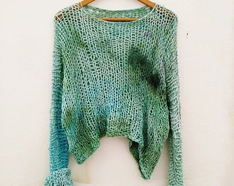 Handknit Green Dyed Sweater