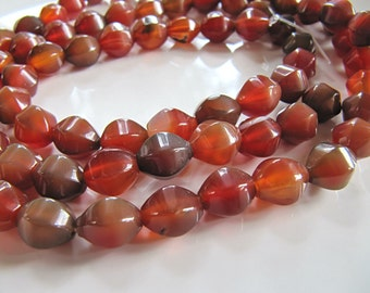 10mm Red AGATE Beads in Amber, Rust and Orange Shades, Faceted Oval Bicone, 1 Strand, 40 Beads, Gemstone Beads
