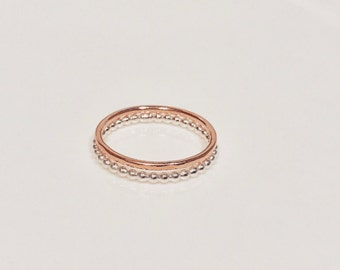 Pink Bubbles 2 - Sterling Silver and 9 carat Solid Rose Gold Stacking Ring Set - 1 Rose Gold Band and 1 Silver Bubble Ring