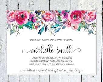 Baby Shower Invitation Girl, Floral, Watercolor, Colorful, Leaves, Horizontal, Printable, Spring, Summer, Printed, Baby Shower Invite