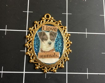 I Love Animals Pendant. Delicately Elegant Dog Pendant, Rat Terrier, Jack Russell, 50% goes to the current selected animal charity