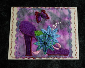 "Unusual machine-embroidered notecard! Gorgeous purple shoe! 4.25""x5.5"". Blank inside. Envelope included."