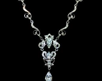 Statement Bridal Necklace, Swarovski Crystal Wedding Necklace, Silver Necklace, Glamour Bridal Jewelry, Victorian Wedding Jewelry, DECADENT