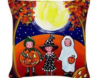 3 Little Trick or Treat Kids Halloween Folk Art Pillow - Woven Throw Pillow Whimsical Art by Renie Britenbucher