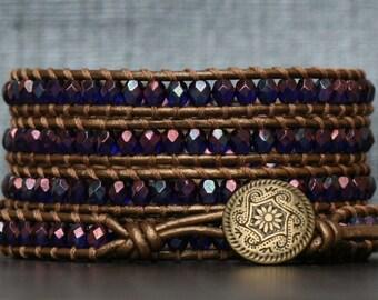 wrap bracelet- cobalt blue vega on bronze leather- beaded leather 5 wrap bracelet