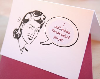 Valentine's Day Retro Gal Mad Men letterpress sticker card, card for him, witty insults customise your card choose from 10 messages stickers