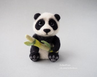 Cute Panda felted toy wool needle felting sculpture bamboo gift eco natural animal handmade