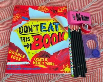 Don't Eat This Book - Unique Activity Journaling Book - Color Pencils/Pencil/Eraser/Sharpener