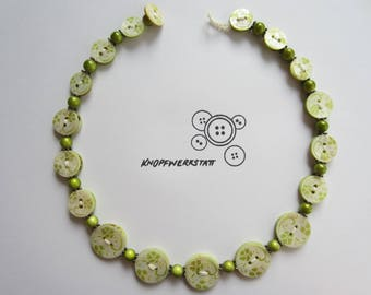 Chain, button chain, necklace with beads and buttons, buttons, statement chain, necklace, chain, Pearl, mother of Pearl,