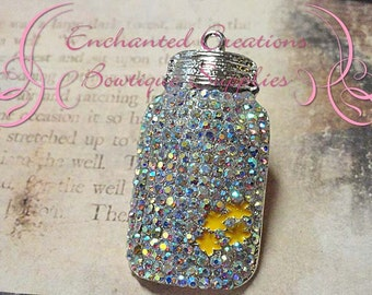 48mm Rhinestone Mason Jar With Yellow Enamel Flower Pendant, Zipper Pull, Keychain