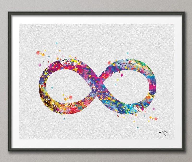 Infinity Symbol Watercolor Art Print Wedding Gift Archival