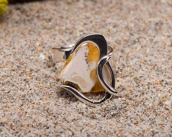 Genuine Royal White Baltic Amber Silver Ring, Adjustable Size