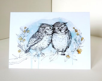Kissing Owls Greetings Card - Owl Card Anniversary Card, Owl Birthday Card, Wedding Couple Engagement Watercolour Illustrated Bird Card A6