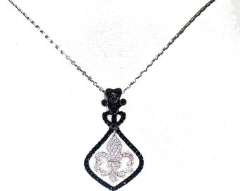 Delicate French Cross Fleur De Lis in Solid Sterling Silver accented with Beautiful Black & Clear CZ's