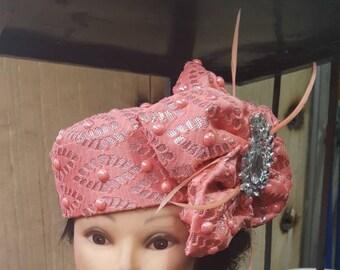 Elegant HandMade Peach Pillbox Hat