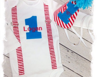 2 Pc BOYS FIRST BIRTHDAY Outfit-Boys Birthday Bodysuit with Birthday Hat-Baby Boys Cake Smash Outfit