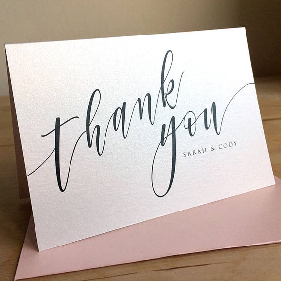 Unique Thank You Card Ideas: Personalized Thank You Note Card Set / Calligraphy Thank You