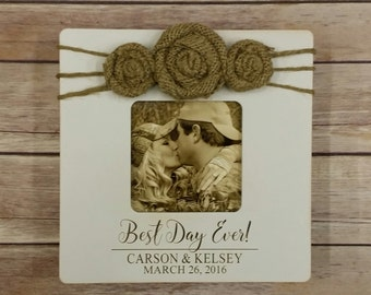 Best Day Ever Photo Frame - Personalized Picture Frame - Engagement - Wedding - Birthday - Burlap