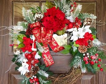 Etsy Poinsettias Front Door Wreath   Christmas Wreath   Grapevine Wreath   Christmas Decorations Wreath   Wreaths on Etsy   Etsy Wreaths