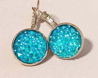 Sea blue earings,silver dangly earrings, sparkly purple, faux druzy, nickel free,rose gold or silver ,sparkly glitter, faux druzy earings,