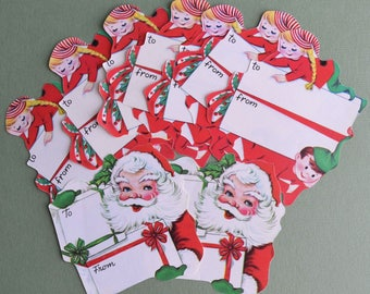 Vintage Christmas To From Tag Seals Children Santa 9 pc