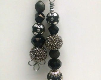 Fan / Light Pull Pair - Black and Silver - Assorted Beads
