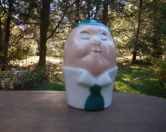 Vintage 1940s to 1960s Salt/Pepper Shaker Retro Single/Orphan Humpty Dumpty Like Egg Shaped White Green Tie/Chapeau Face Ceramic/Porcelain