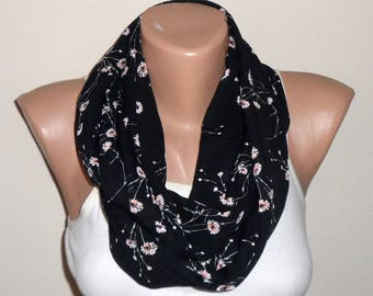 black infinity scarf siphon  tülle daisy-patterned loop scarf circle scarf women scarf trendy scarf accessories gift for her