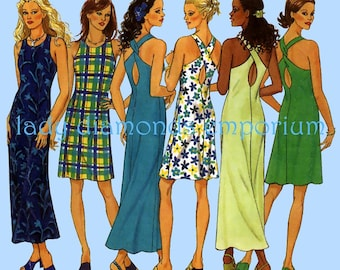 New Look 6754 Womens Sexy 2 Hour Mini Maxi Shift Dress Keyhole Back Strap Options size 8 10 12 14 16 18 Easy Vintage Sewing Pattern Uncut FF