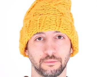 Sunshine Orange Merino Wool PomPom Hat