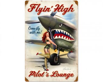 """Metal Sign """" Military Armed Forces Air Force Pin Up Girl """" 12""""x18"""" Man Cave"""
