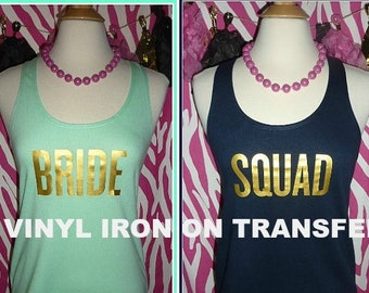 Squad Iron on bride iron on transfer gold bride  gold squad applique wedding transfers wedding iron on bachelorette