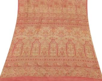 Vintage Floral Printed 100% Pure Silk Saree Beige Dress Making Fabric Craft Sari VPS51953