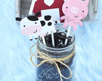 Farm Animal Cupcake Toppers, Barnyard Birthday Party, First Birthday, Baby Shower, Farm Animal Party Decor, Farm, Barnyard Cupcake Toppers