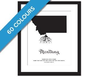Montana Roots - State Map Art Print - Montana Map - Geography Poster - Montana Art Print - Montana Poster - Travel Art - Custom State Print