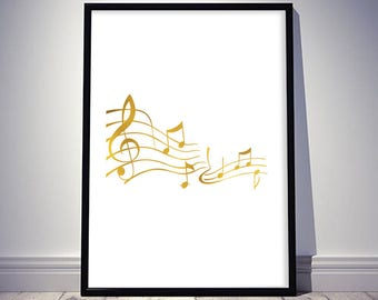 Musical Symbols Printable Art Gold White Notes Musical Staff Wall Decor Treble Clef Digital Art / Instant Download