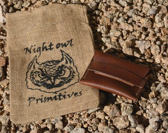 Leather minimalist flap wallet