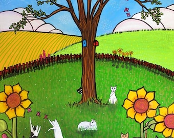 Cats playing in Garden, flowers, kittens, illustration by Shelagh Duffett