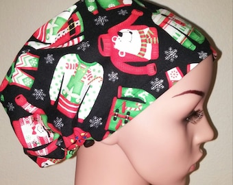 Women's Surgical Cap, Scrub Hat, Chemo Cap, Ugly Christmas Sweater