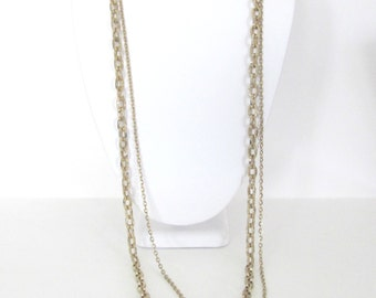 Vintage Gold Necklace, 1980's Double Chain Necklace, Gold-Tone Metal Chain Necklace, 1980's Necklace