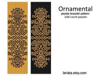 Ornamental - Peyote Bracelet Pattern - odd-count peyote - INSTANT DOWNLOAD