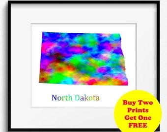 North Dakota State Map Watercolor Art Print (094)