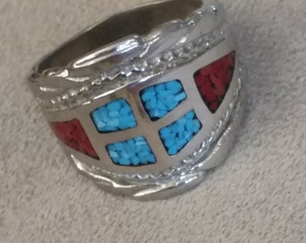 FREE SHIPPING Turquoise and Coral Chip Silver Ring, Gentleman's Statement, Silver, Size 12