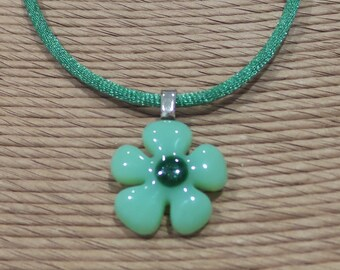 Small Flower Pendant, Mint Green Flower Necklace, Floral Jewelry, Petal Details, Flower Jewelry - Kayleigh - 4587 -4