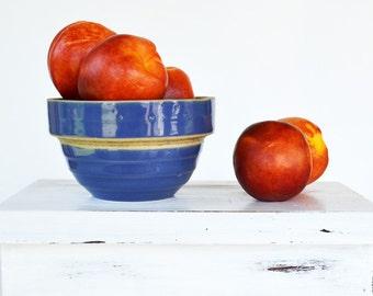 Antique Stoneware Bowl   Blue Bowl   Vintage Mixing Bowl   Yellowware Bowl   Farmhouse Style   Cottage Style
