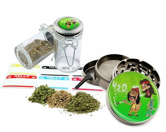 "Smoking Leaf - 2.5"" Zinc Alloy Grinder & 75ml Locking Top Glass Jar Combo Gift Set Item # G022115-069"