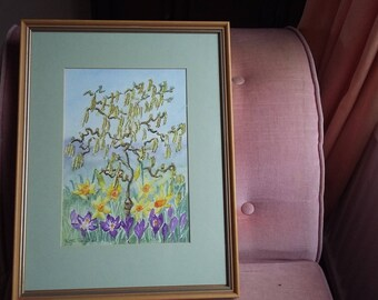 Original Watercolour of a Tree or Plant and Flowers. Beech Frame